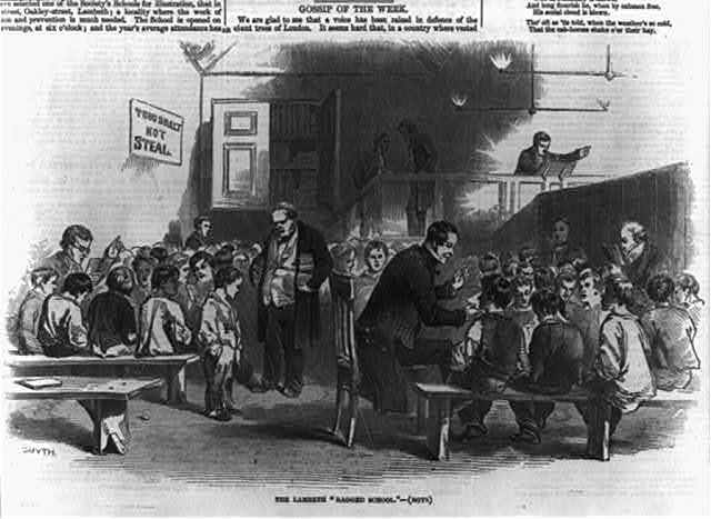 "Lambeth ""Ragged School"" [London]: men teaching boy students"