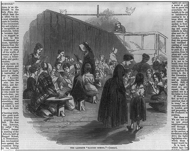 "Lambeth ""Ragged School"" [London]: women teaching girl students"