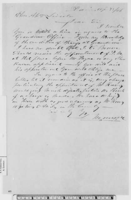 Leander Munsell to Abraham Lincoln, Thursday, April 23, 1846  (Appointment)