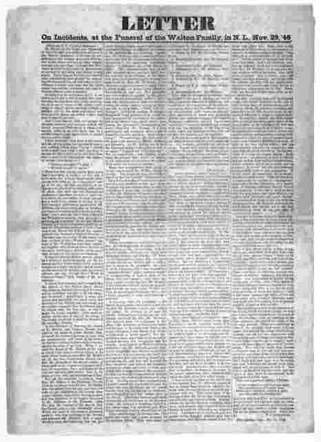 Letter on incidents at the funeral of the Walton family, in N. L., Nov. 29, '46 ... T. J. Greenwood. New London, Conn. Dec. 21, 1846.