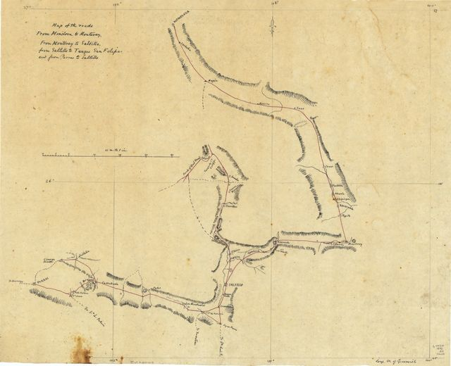 Monclova Mexico Map.Sketch To Correct The Maps Of The Route Of Genl Wool S Division Of