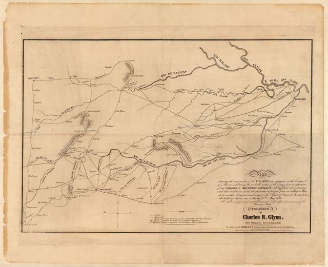 Map shewing the movements of the U.S. Army now engaged in the conquest of Mexico : exhibiting the probable routes of the army from its departure from Comargo to Monterey, Satillo &c. ... /