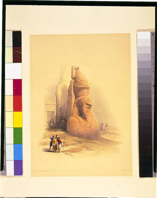One of two colossal statues of Rameses II entrance to the Temple of Luxor / David Roberts, R.A.