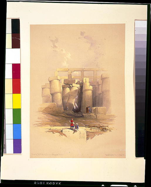 Part of the hall of columns at Karnak--Thebes / David Roberts, R.A.