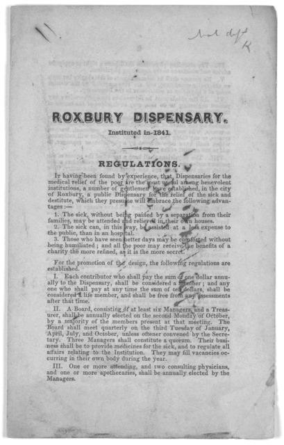 Regulations. [Roxbury, 1846].