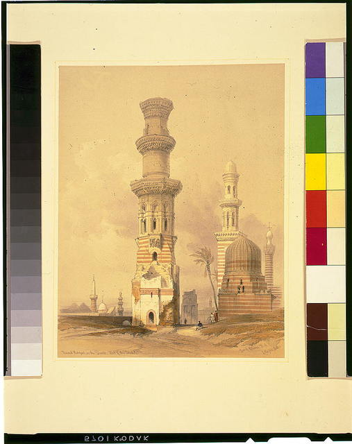 Ruined mosques in the desert, west of the citadel / David Roberts, R.A.