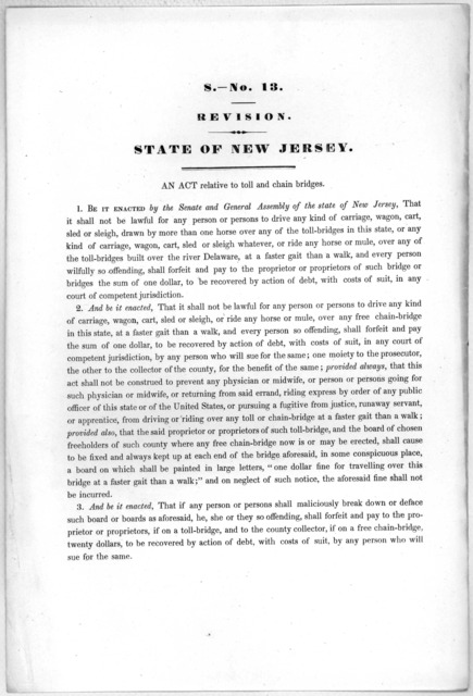 S.- No. 13. Revision. State of New Jersey. An act relative to toll and chain bridges. [1846?].