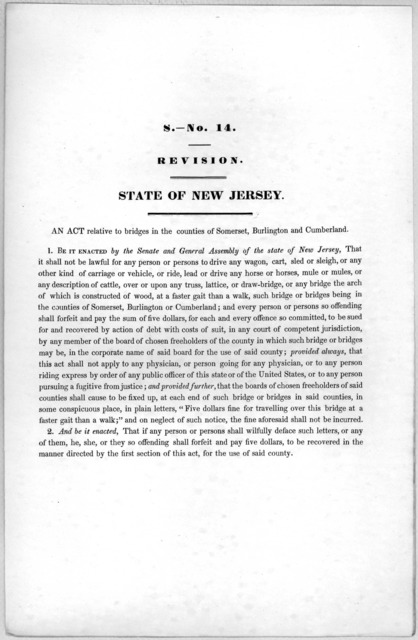 S. No. 14. Revision. State of New Jersey. An act relative to bridges in the counties of Somerset, Burlington and Cumberland. [1846?].