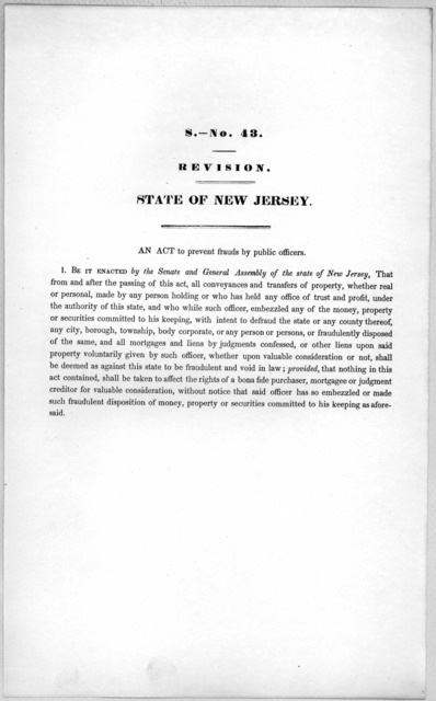 S. No. 43. Revision. State of New Jersey. An act to prevent frauds by public officers. [1846?].