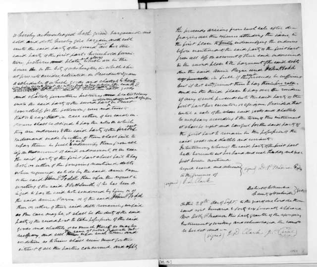 September 28, 1846. Contract between Dolley Payne Madison and Richard D. Cutts.