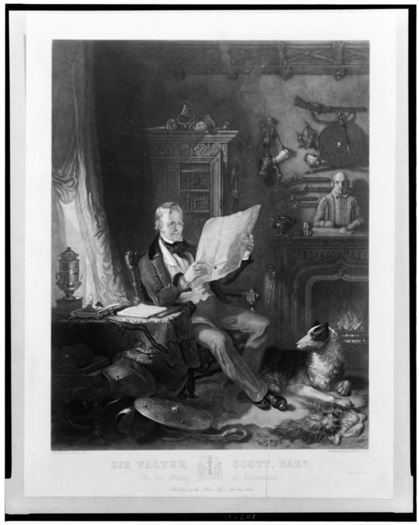 Sir Walter Scott, Bart. in his study at Abbotsford / Painted by W. Allan, R.A. ; engraved by H.S. Sadd, N.Y.