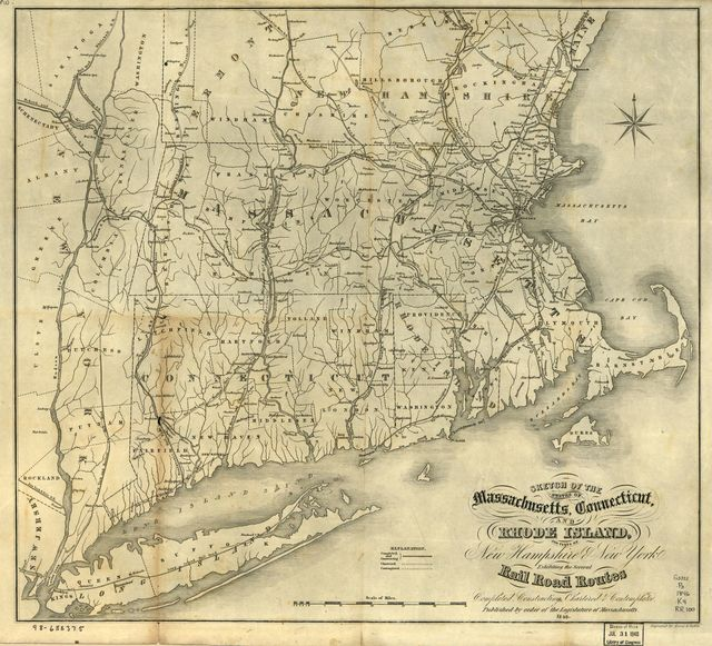 Sketch of the states of Massachusetts, Connecticut, and Rhode Island, and parts of New Hampshire & New York exhibiting the several rail road routes completed, constructing, chartered & contemplated; published by order of the Legislature of Massachusetts, 1846.