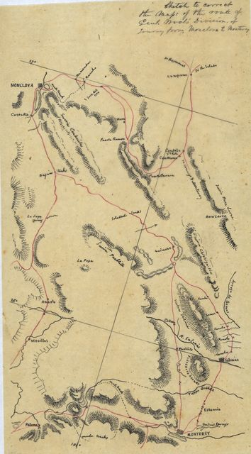 Sketch to correct the maps of the route of Genl. Wool's Division of Journey from Monclova to Monterrey.