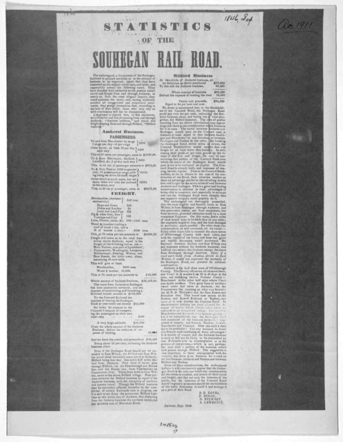 Statistics of the Souhegan railroad. Amherst, Sept. 1846.