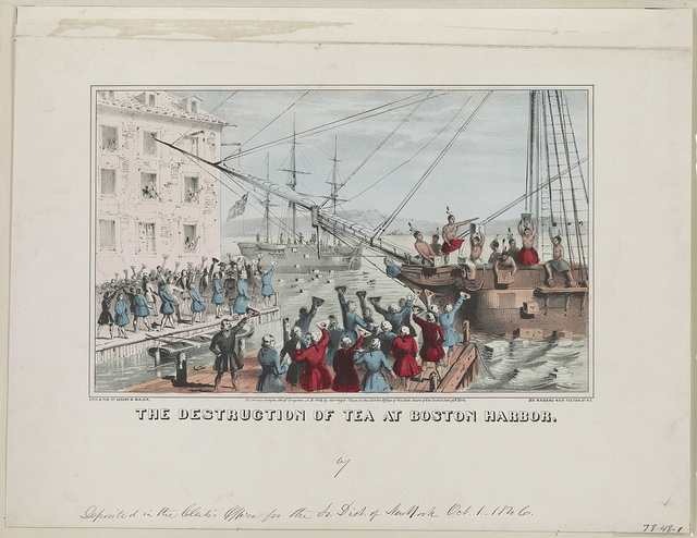 The destruction of tea at Boston Harbor / lith. & pub. by Sarony & Major, 99 Nassau naer [i.e., near] Fulton St., N.Y.