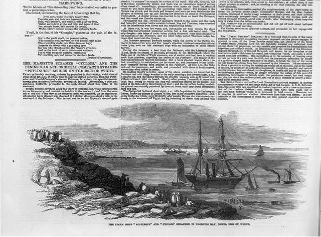 The steam-ships POTTINGER and CYCLOPS stranded in Thorness Bay, Cowes, Isle of Wright