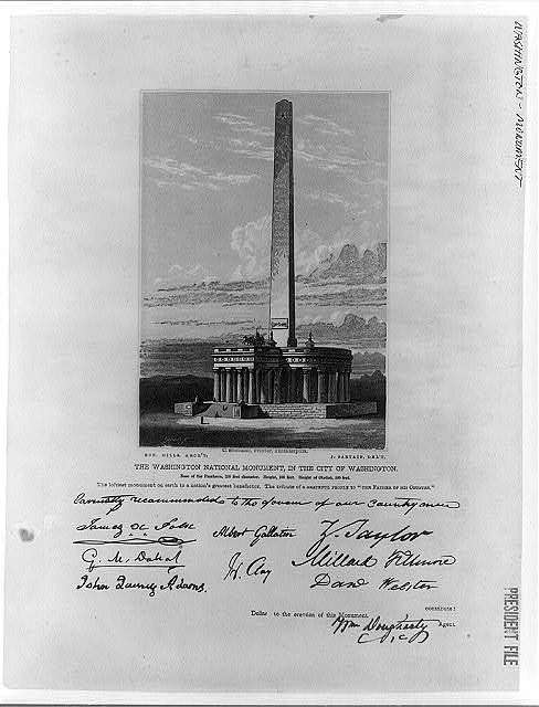 """The Washington National Monument, in the city of Washington base of the Pantheon, 250 feet diameter. Height, 100 feet. Height of obelisk, 500 feet. The loftiest monument on earth to a nation's greatest benefactor. The tribute of a grateful people to """"The Father of his Country"""" Gihon, SC. ; C. Sherman, printer, Philadelphia ; Rob. Mills, arch't. ; J. Sartain, delt"""