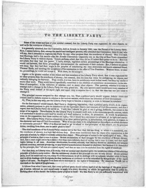 To the Liberty Party. Gerrit. Smith. Peterboro, May 7, 1846.