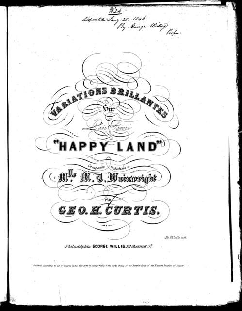"Variations brillantes sur l'air favori ""Happy land"""