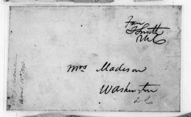 William J. Robertson to Dolley Payne Madison, April 18, 1846. Envelope.