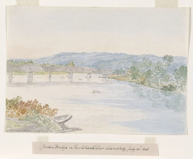 Wooden bridge on the Mohawk River, Schenectady U.S. July 20th 1846