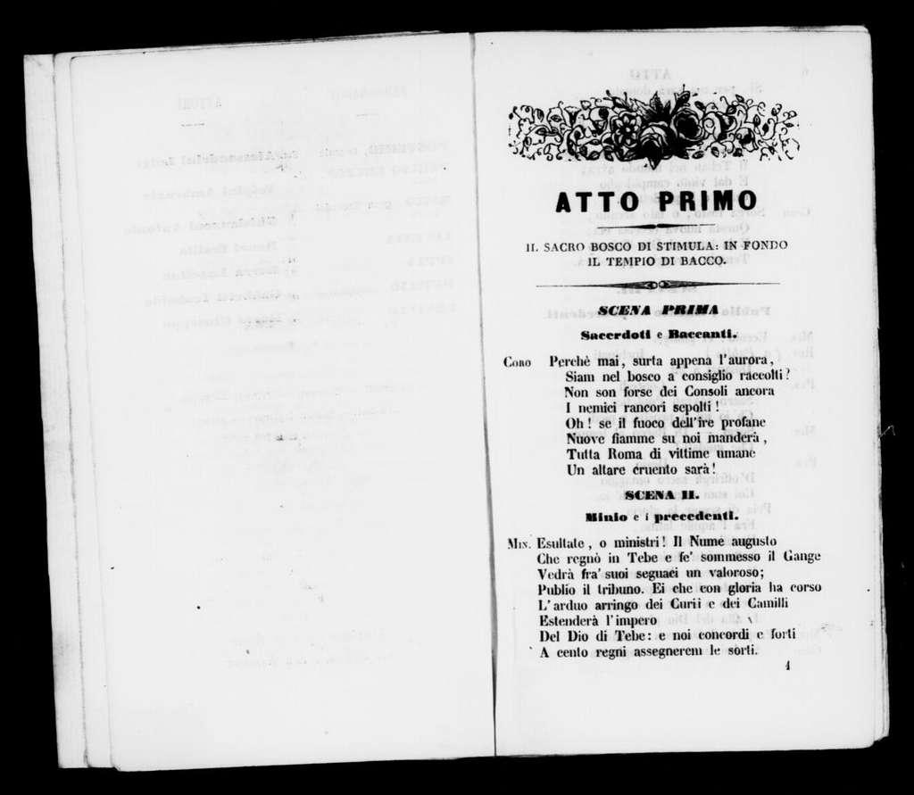 Baccanti. Libretto. Italian