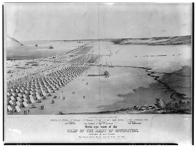 Birds-eye view of the camp of the army of occupation, commanded by Genl. Taylor, near Corpus Christi, Texas, (from the North) Oct. 1845 / D.P. Whiting, Capt. 7th Inf. del. ; on stone by C. Parsons.