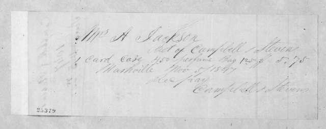 Campbell & Stevens to Sarah Yorke Jackson, November 5, 1847