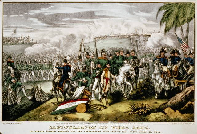 Capitulation of Vera Cruz: The Mexican soldiers marching out, and surrendering their arms to Genl. Scott. March 29, 1847
