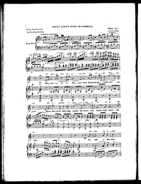 Chanson d'Amřique, par Jenny Lind = Jenny Lind's song of America, a canzonetta, no. 200, op. 174