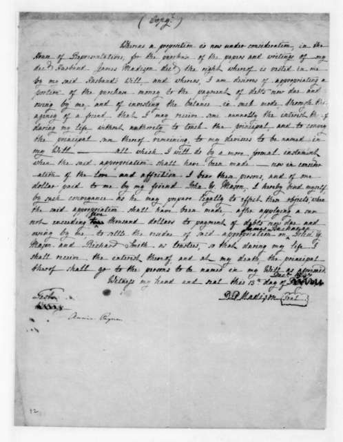 Dolley P. Madison, December 13, 1847. Regarding payment from Congress for a portion of James Madison papers.