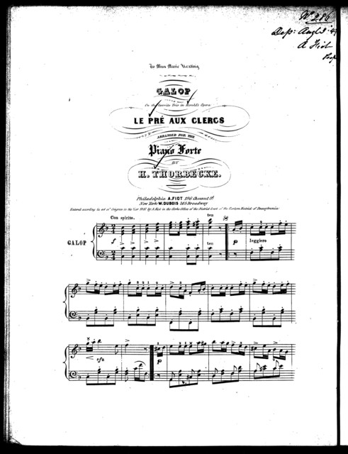 Galop, on the favorite trio in Herold's opera Le pr ̌aux clercs
