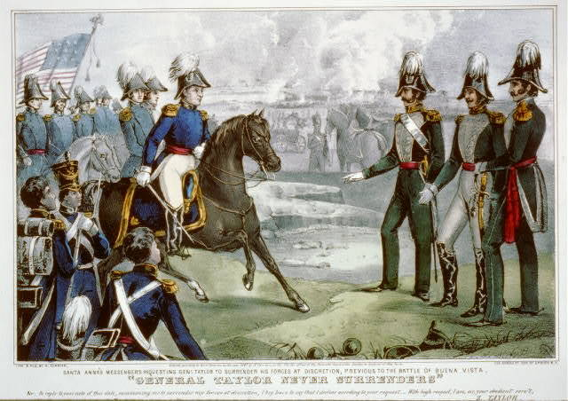 """""""General Taylor never surrenders"""": Santa Anna's messengers requesting Genl. Taylor to surrender his forces at discretion, previous to the battle of Buena Vista"""