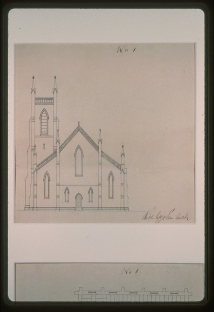 [Grace Church (Brooklyn, New York). Rear elevation. Plan] / Rich Upjohn, arct.