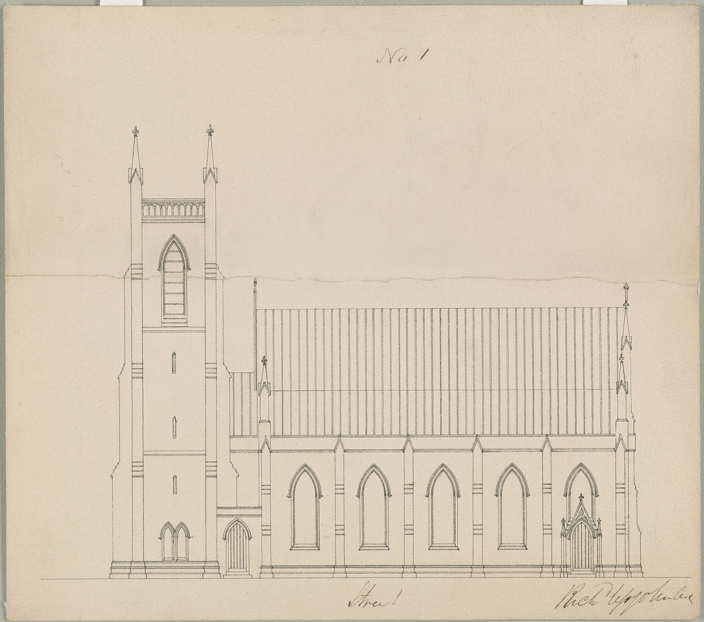 [Grace Church (Brooklyn, New York). Side elevation] / Rich Upjohn, arct.