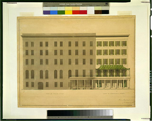 [Hotel for Azariah Fuller, (Kirkwood House), Pennsylvania Avenue and 12th Street, N.W., Washington, D.C. 12th St. and Pennsylvania Ave. elevations]