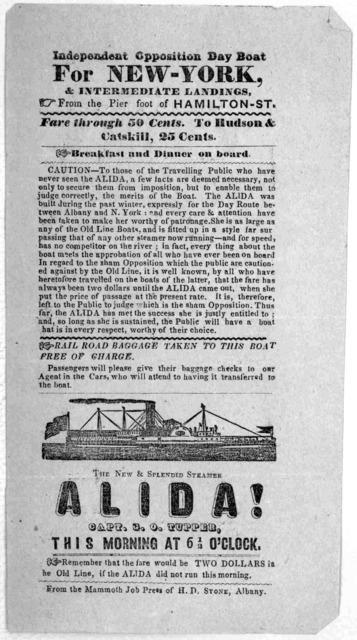 Independent opposition day boat for New-York, & intermediate landings, from the pier foot of Hamilton-St ... The new & splendid steamer Alida ... Albany From the Mammoth Job Press of H. D. Stone [1847].