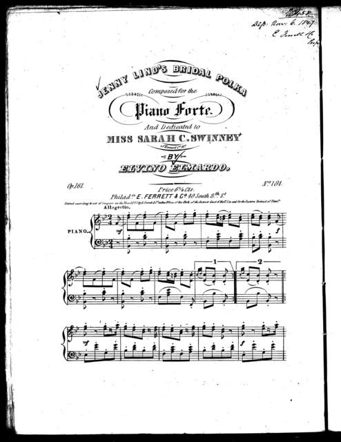Jenny Lind's bridal polka, op. 161, no. 184