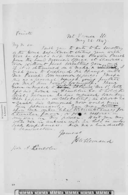 John A. McClernand to Abraham Lincoln, Wednesday, May 26, 1847  (Retention of Braxton Parrish)