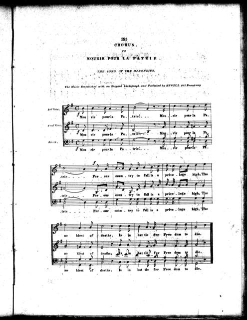"""Les  """"Cirondins"""", mourir pour la patrie, revolutionary song '48"""