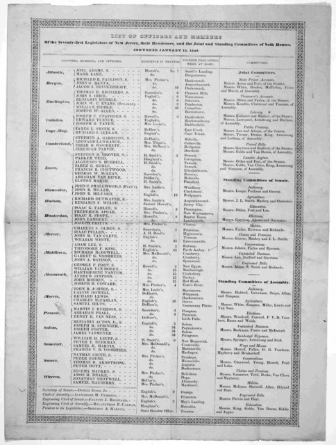 List of officers and members of the seventy-first legislature of New Jersey, their residences, and the joint and standing committees of both houses. Convened January 12, 1847.