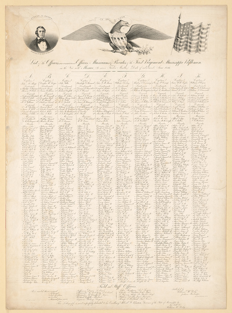 List of the officers, non-commissioned officers, musicians & privates of the first regiment Mississippi riflemen in the war with Mexico (to serve twelve months,) date of enlistment, June 1846 / C.B. Graham Lith. Washington City, D.C.