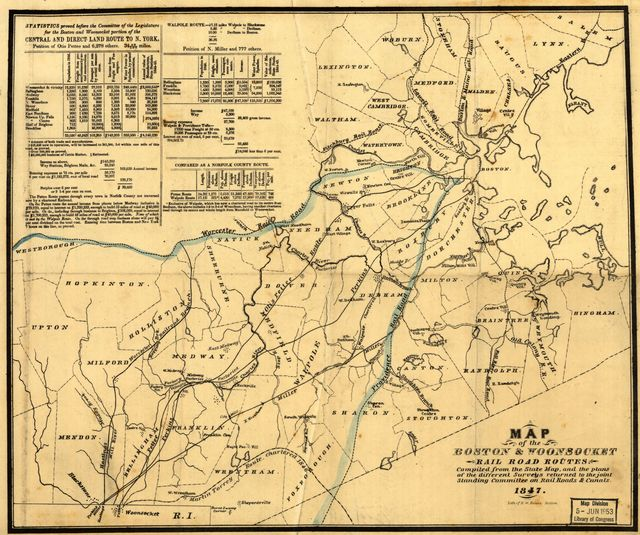 Map of the Boston & Woonsocket rail road routes compiled from the state map, and the plans of the different surveys returned to the joint standing committee on railroads & canals.