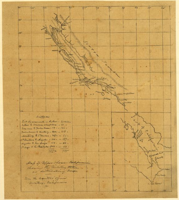 Map of Upper & Lower California showing the military stations and distribution of troops.