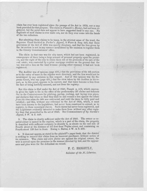 Michael Pray, executor of John Pray, deceased, who was terre tenant, plaintiff in error v. The commissioners and inhabitants of the incorporated district of the Northern Liberties, defendants in error. Supreme Court July Term 1848 No. 27 ... [Ph