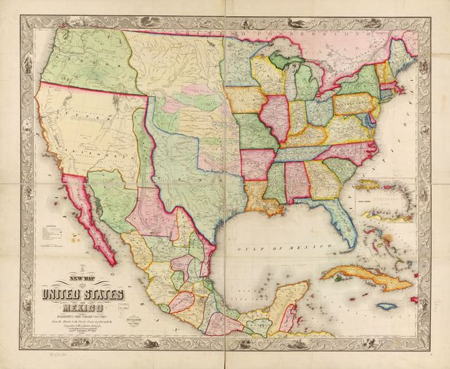 New map of the United States and Mexico.