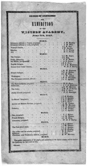 Order of exercises for exhibition of the Western academy, June 7th, 1847.