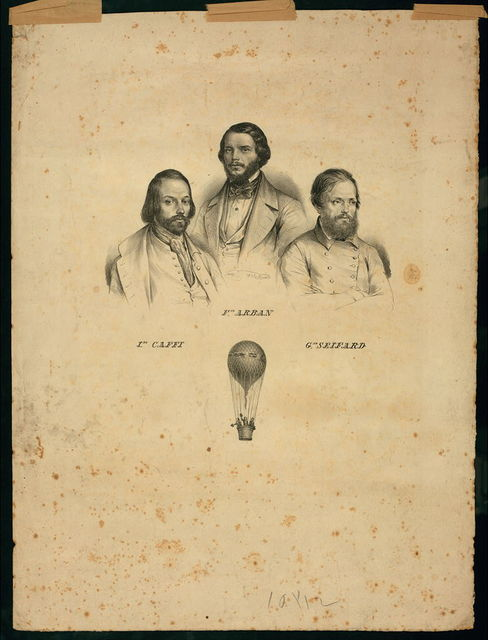 [Portraits of three balloonists Ippolito Caffi, Francesco Arban, and G. Seiffard, with a small view of them in an ascending balloon]