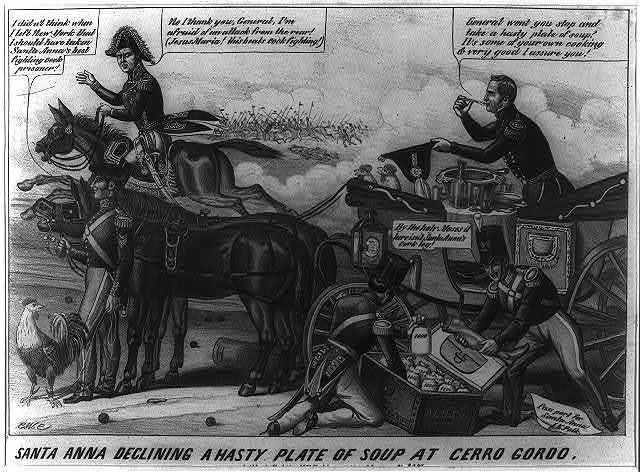 Santa Anna declining a hasty plate of soup at Cerro Gordo