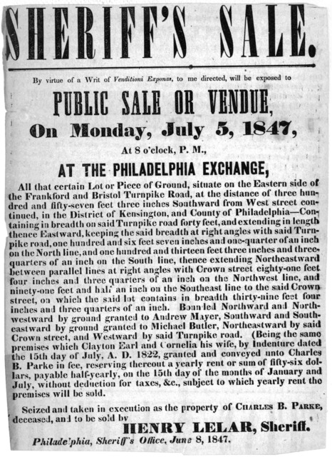 Sheriff's sale. By virtue of a writ of Venditoni Exponas, to me directed, will be exposed to public sale or vendue on Monday, July 5, 1847, at 8 o'clock, P. M., at the Philadelphia exchange, all that certain lot or piece of ground, situate on th